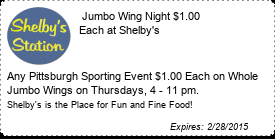 Coupon  Jumbo Wing Night $1.00 Each at Shelby's