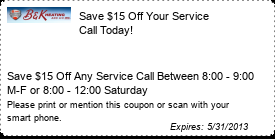 Coupon Save $15 Off Your Service Call Today!