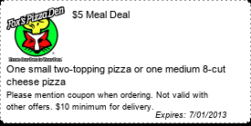 Coupon $5 Meal Deal