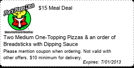 Coupon $15 Meal Deal