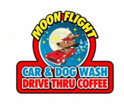 Moon Flight Car and Dog Wash and Coffee Drive Thru Logo